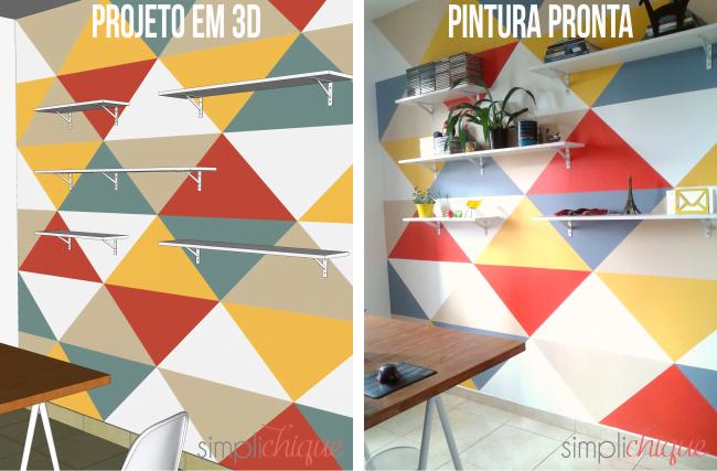 pintura parede de triângulos simplichique 10