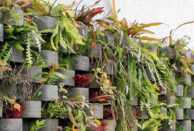 jardim vertical ideias:jardim vertical barato bloco de concreto 04