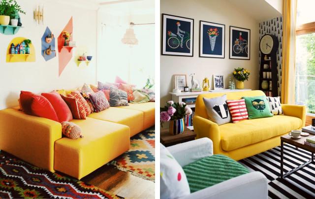 Sala De Estar Com Detalhes Amarelo ~ Sofá amarelo em decoração de verdade  Simplichique