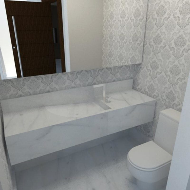 Papel de parede mude de casa sem sair de casa -> Banheiro Moderno Com Papel De Parede