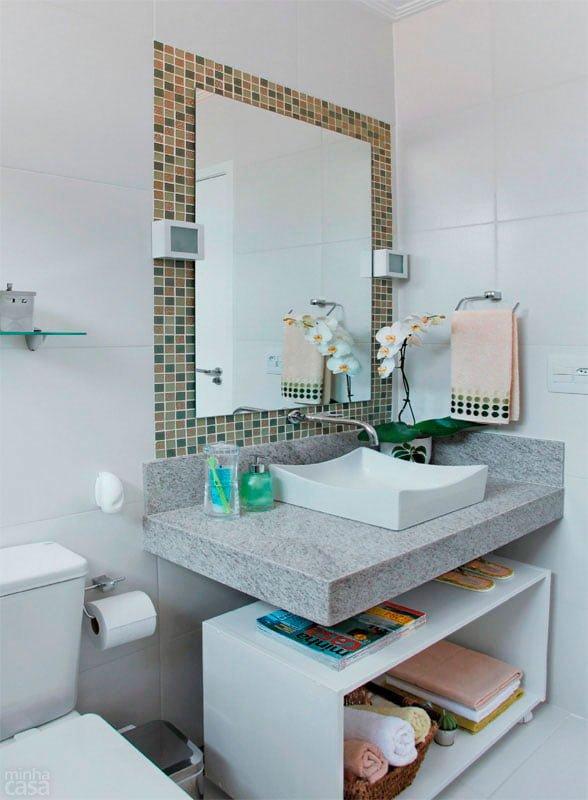 Bancadas de banheiros pequenos dicas para não errar -> Banheiro Pequeno Pequeno