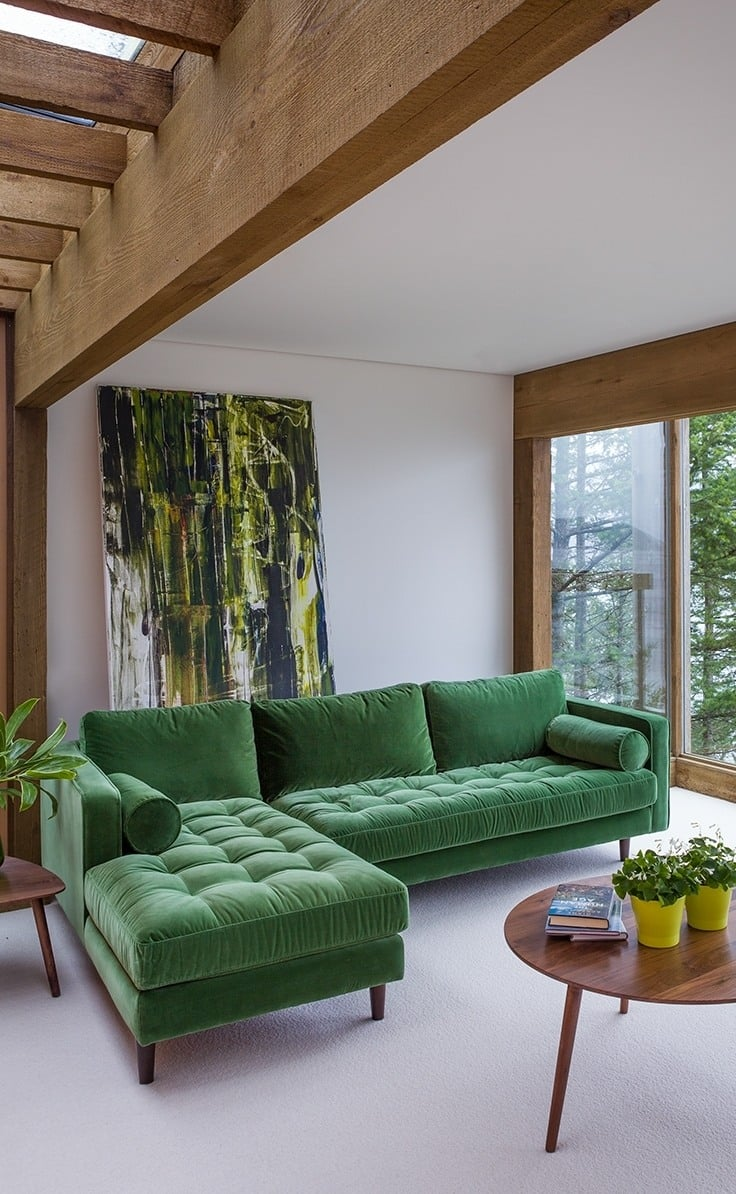 sofá de veludo
