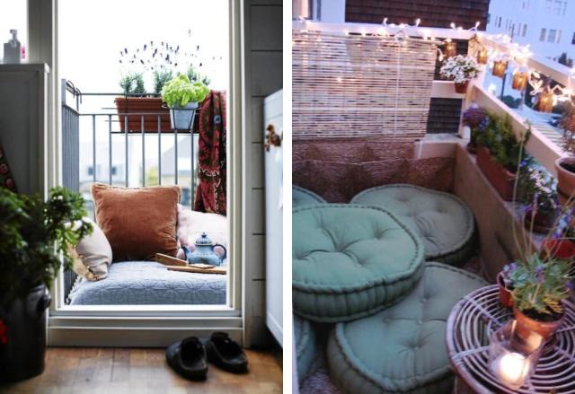 futons e almofadas no chão da sacada 19 20