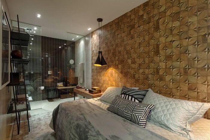 quarto de casal com papel de parede 3D