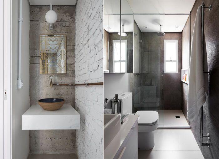 banheiro com tijolo aparente